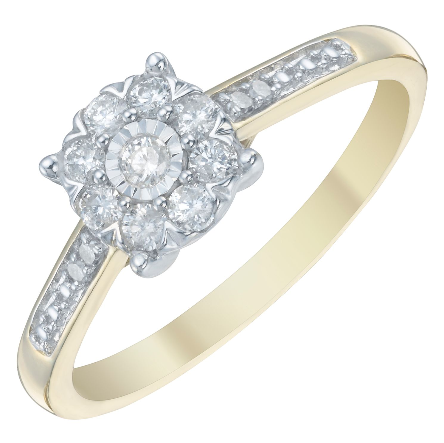 9ct Gold 1/5ct Diamond Cluster Halo Ring - Product number 3882772