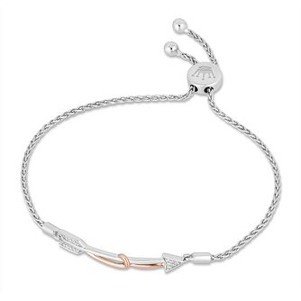 Hallmark Silver & 9ct Gold Diamond Arrow Adjustable Bracelet - Product number 3886247