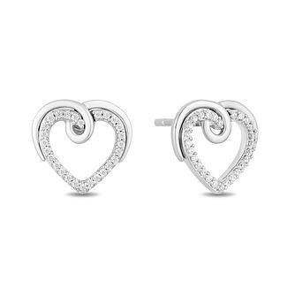 Hallmark Silver 0.12ct Diamond Twisting Heart Stud Earrings - Product number 3886255