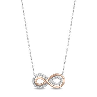 Hallmark Silver & 9ct Gold 0.10ct Diamond Infinity Pendant - Product number 3886271