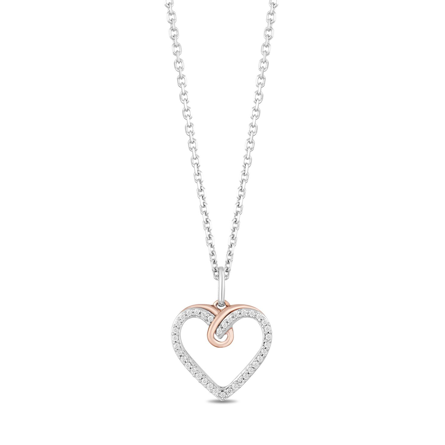 Hallmark Silver & 9ct Gold Diamond Heart Pendant - Product number 3886352