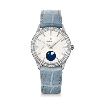 Zenith Elite Women's Pale Blue Moonphase Buckle Watch - Product number 3886654