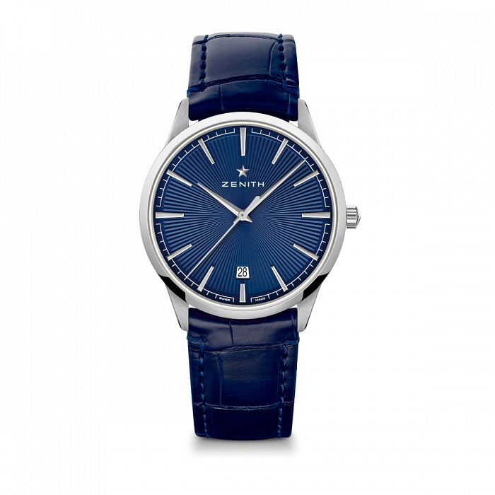 Zenith Elite Classic Mens Blue Leather Strap Watch - Product number 3886816