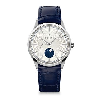 Zenith Elite Men's Navy Blue Moonphase Buckle Watch - Product number 3886824