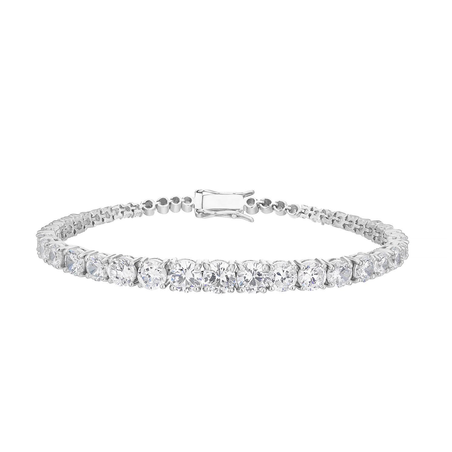 Sterling Silver Cubic Zirconia Graduated Bracelet - Product number 3887197