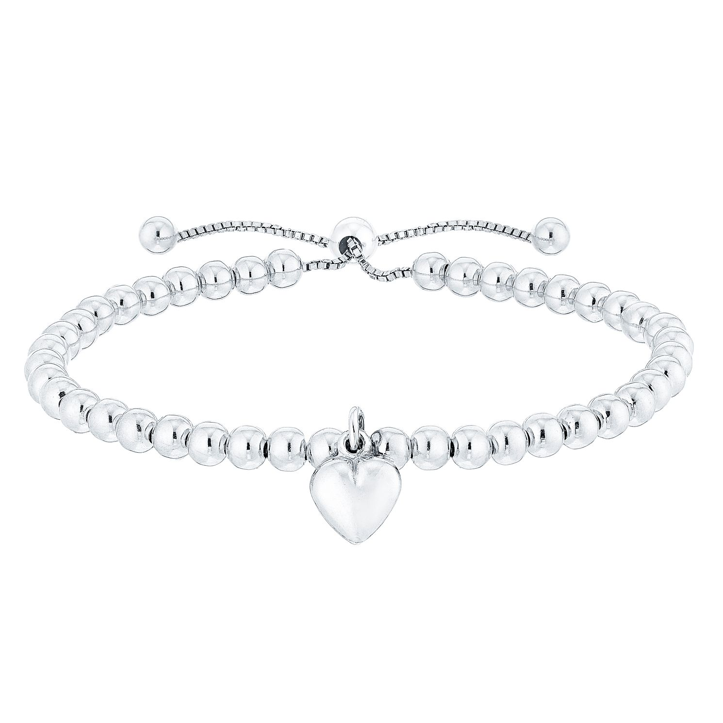 Sterling Silver Beaded Heart Adjustable Bracelet - Product number 3887332
