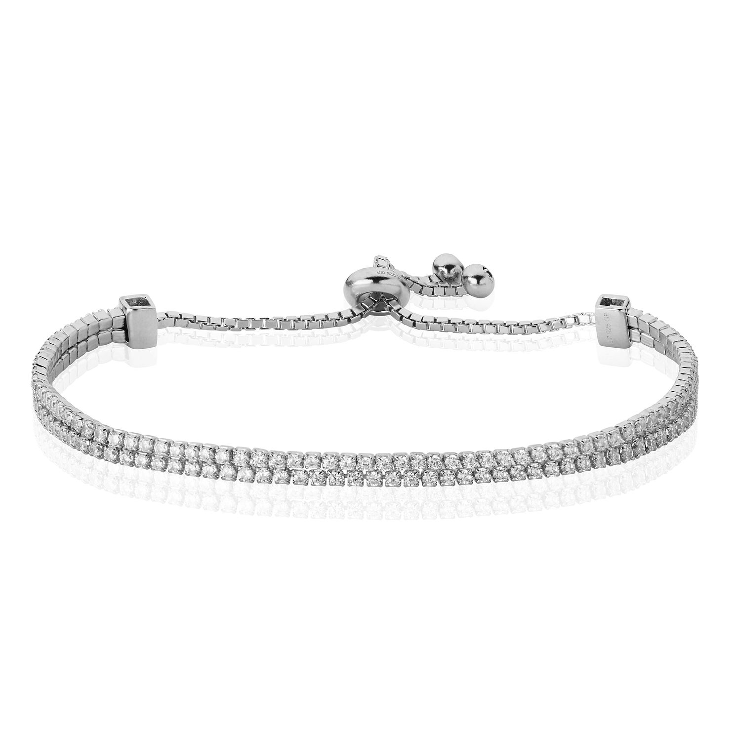 Sterling Silver Cubic Zirconia Adjustable Bracelet - Product number 3887588