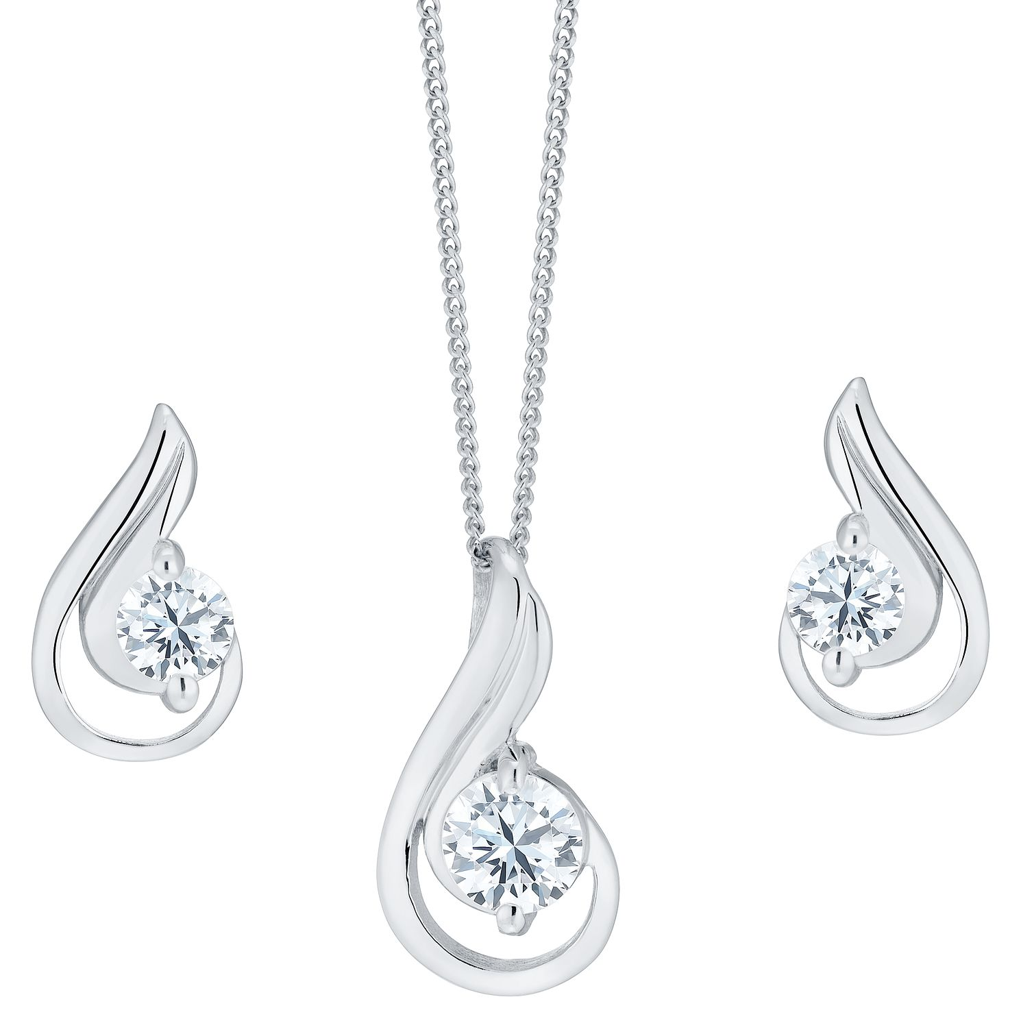 Sterling Silver And Cubic Zirconia Earring And Pendant Set - Product number 3888320