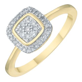 9ct Gold 0.17ct Diamond Cushion Cluster Halo Ring - Product number 3888568