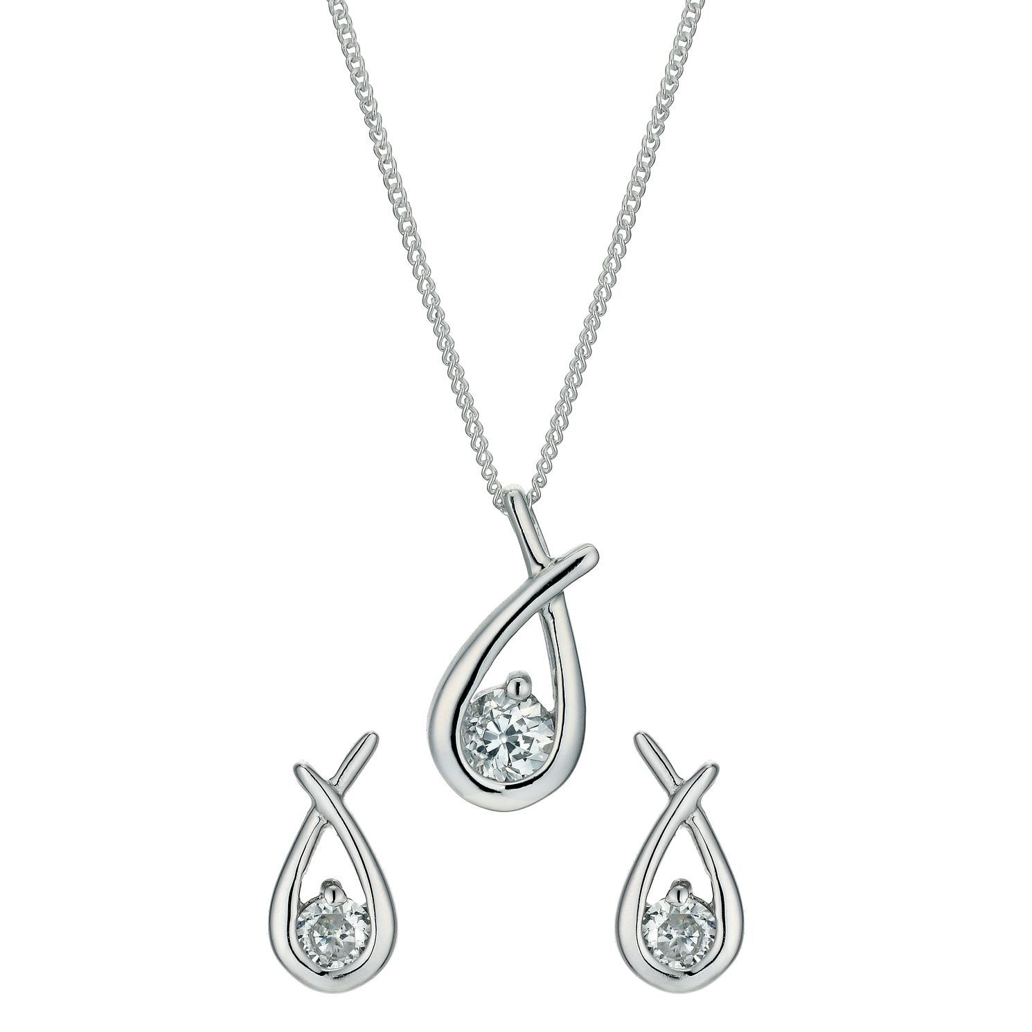Sterling Silver Mini Love Knot Pendant And Earrings Set - Product number 3888673