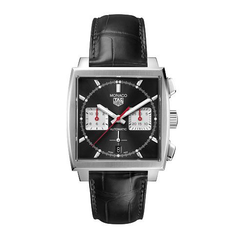 TAG Heuer Monaco Men's Black Leather Strap Watch - Product number 3888843