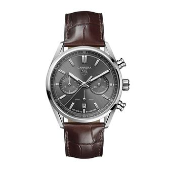 TAG Heuer Carrera Chronograph Brown Leather Strap Watch - Product number 3889084