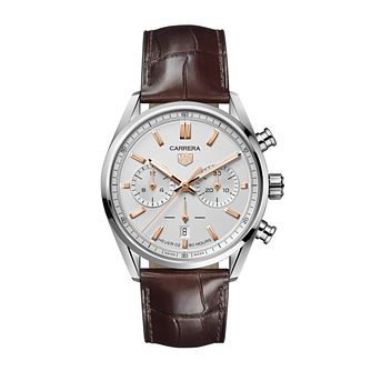 TAG Heuer Carrera Chronograph Brown Leather Strap Watch - Product number 3889114