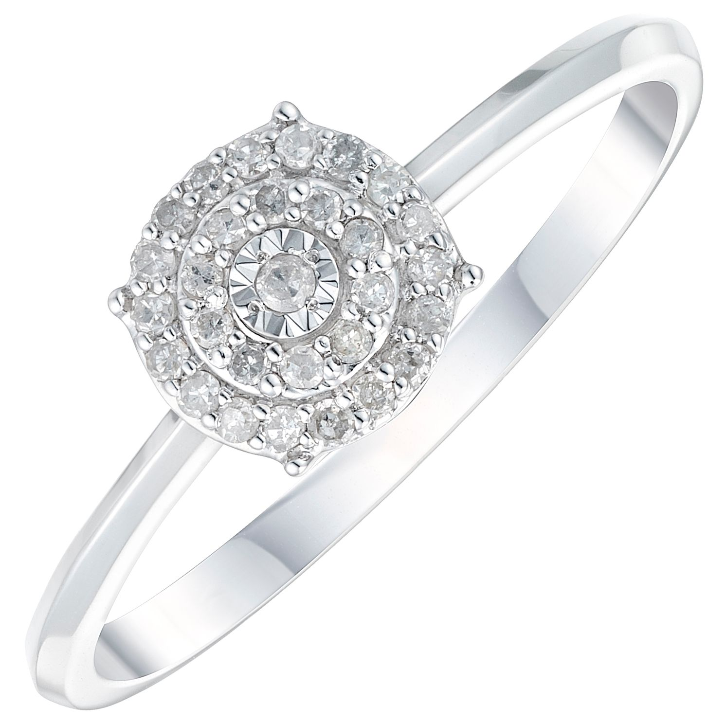 9ct White Gold 1/10ct Diamond Solitaire Halo Ring - Product number 3889688