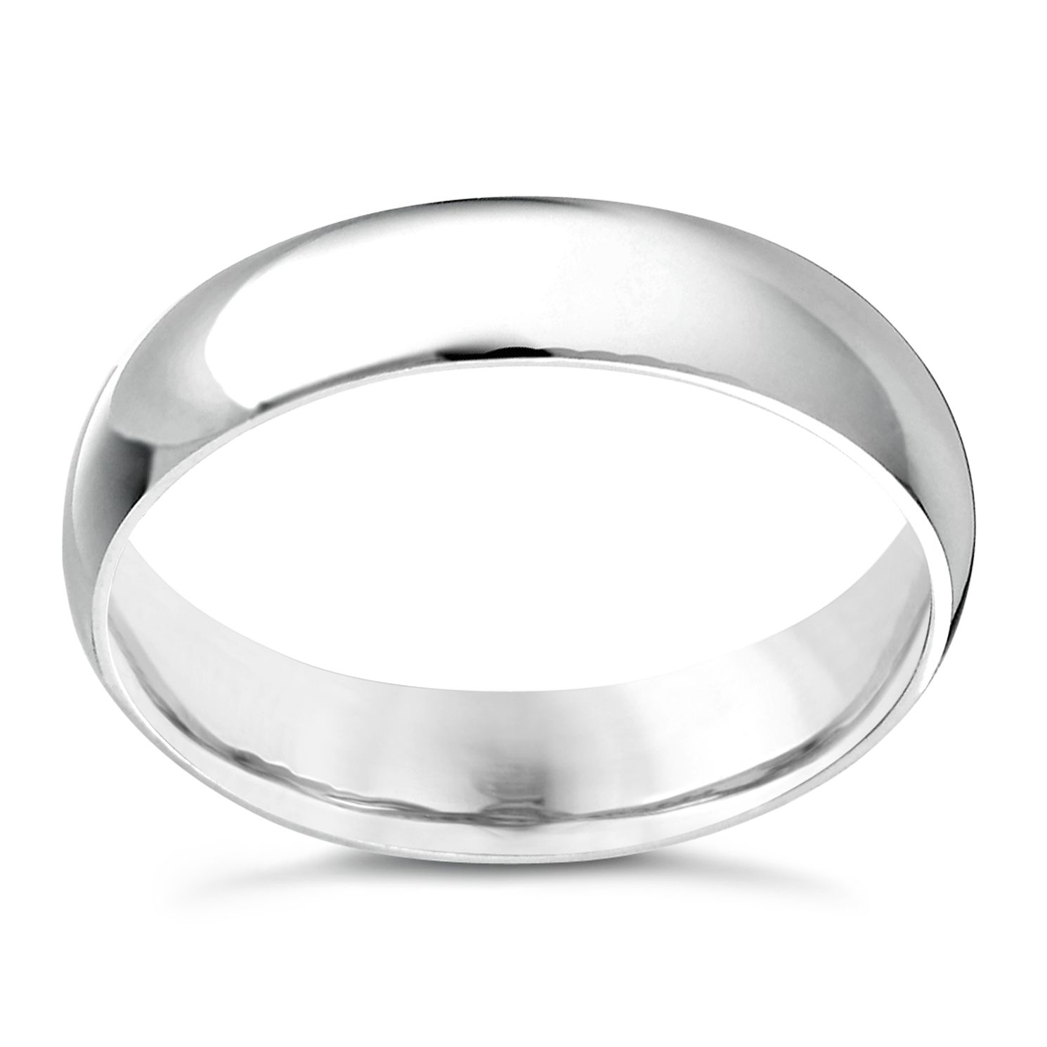 9ct White Gold 5mm Extra Heavyweight D Shape Ring - Product number 3890015