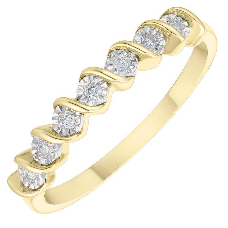 9ct Yellow Gold Diamond Twist Eternity Ring