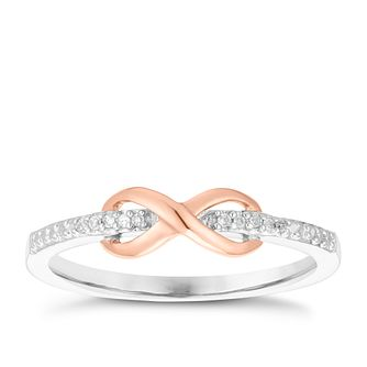 9ct White & Rose Gold Diamond Infinity Eternity Ring - Product number 3892549