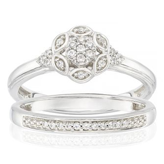 Perfect Fit Sterling Silver 0.15ct Total Diamond Bridal Set - Product number 3896153