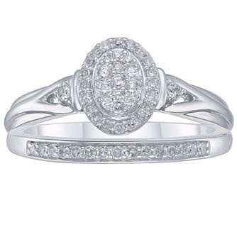 Perfect Fit Sterling Silver 1/4ct Diamond Bridal Set - Product number 3896617