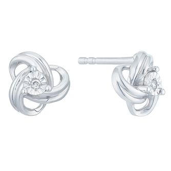 Sterling Silver Diamond Knot Earrings - Product number 3896846