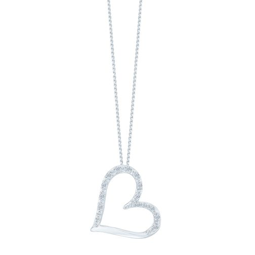 9ct White Gold Diamond Heart Pendant - Product number 3896862