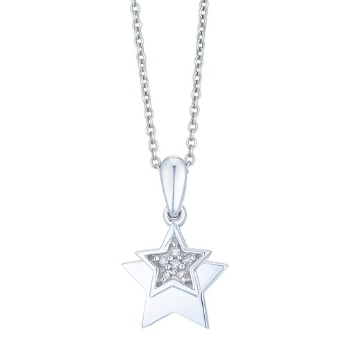 Sterling Silver Diamond Star Pendant - Product number 3896919