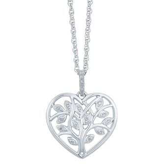 Sterling Silver Diamond Heart Tree of Life Design Pendant - Product number 3896994