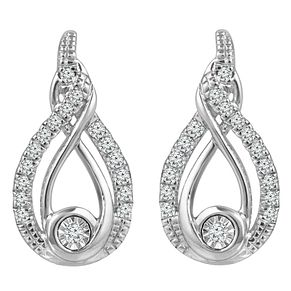 Interwoven Sterling Silver 0.12ct Diamond Earrings - Product number 3897001