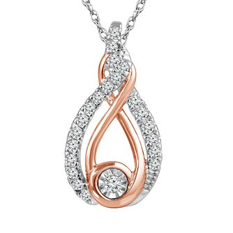 Interwoven Sterling Silver & 9ct Rose Gold Diamond Pendant - Product number 3897427