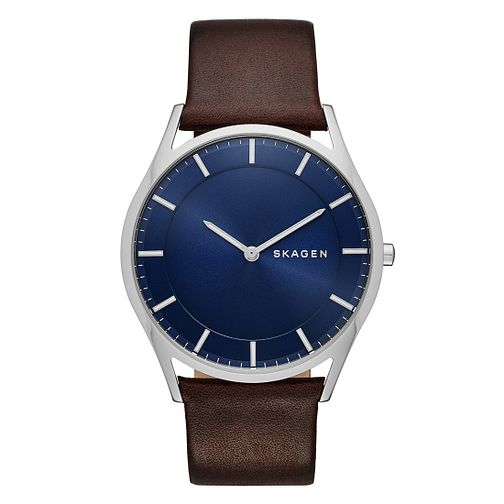Skagen Men's Round Blue Dial Brown Leather Strap Watch - Product number 3903745