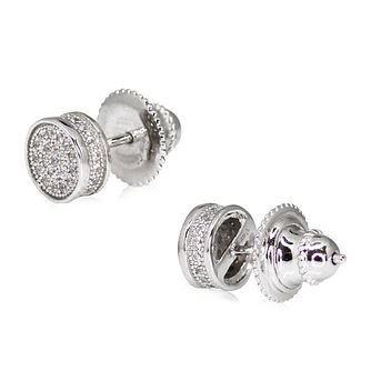 CARAT* LONDON Sterling Silver Pave Round Stud Earrings - Product number 3904903
