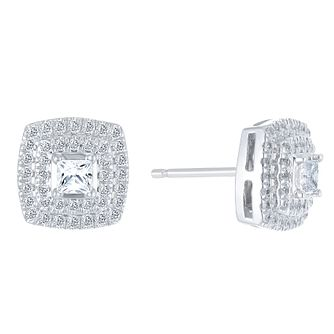 9ct White Gold 0.50ct Diamond Halo Earrings - Product number 3908461
