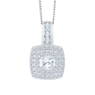 9ct White Gold 1/2ct Diamond Halo Pendant - Product number 3908488