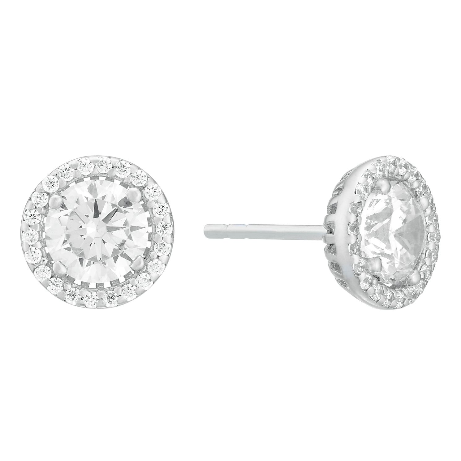 Silver Cubic Zirconia Halo Stud Earrings - Product number 3908518