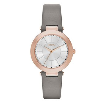 DKNY Ladies' Rose Gold-Plated Grey Leather Strap Watch - Product number 3909239