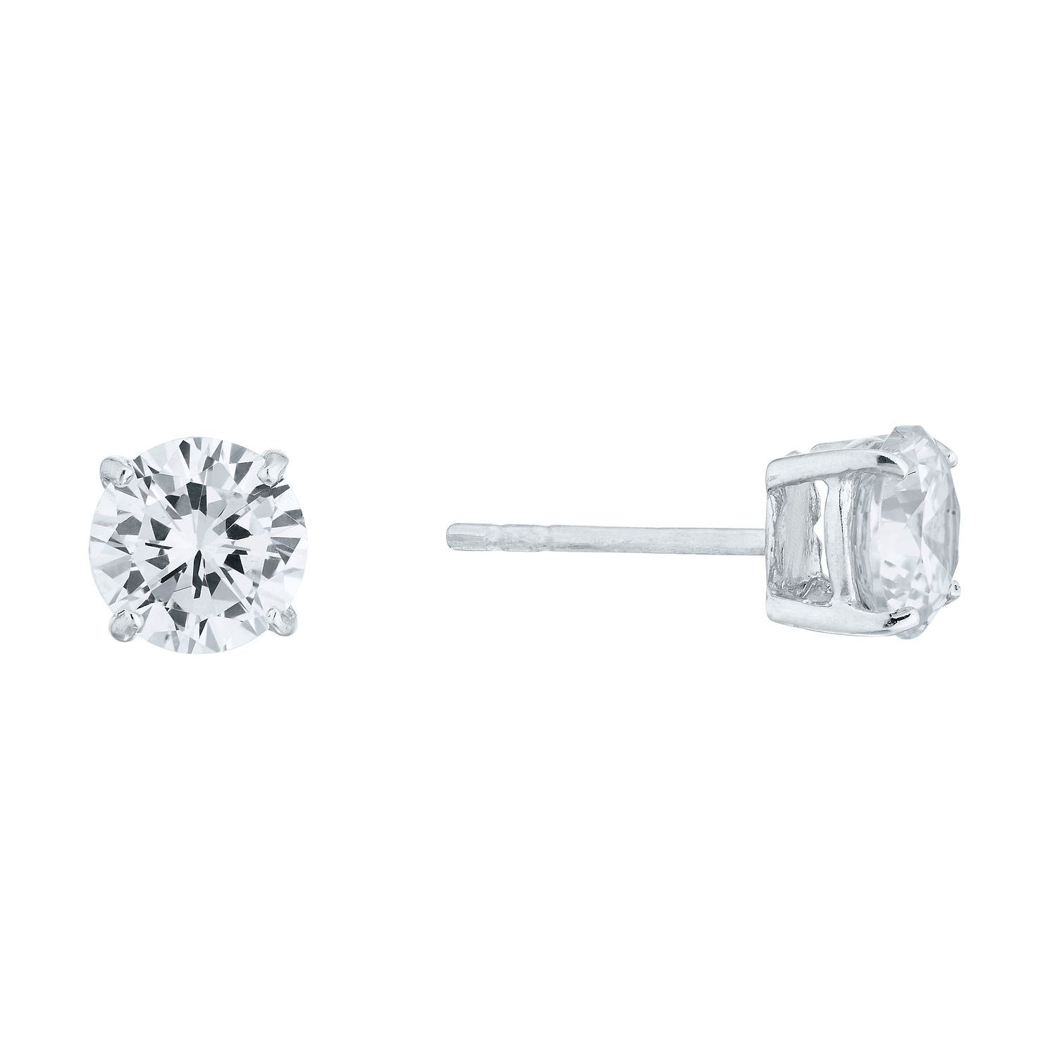 Sterling Silver Cubic Zirconia 6mm Stud Earrings - Product number 3909743