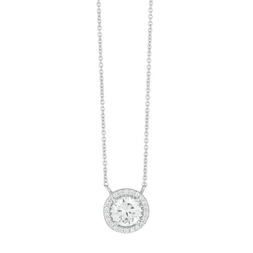 Silver Cubic Zirconia Halo Necklace - Product number 3909794