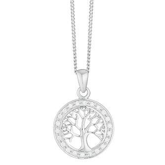 Tree of Life Design Silver And Cubic Zirconia Pendant - Product number 3909816