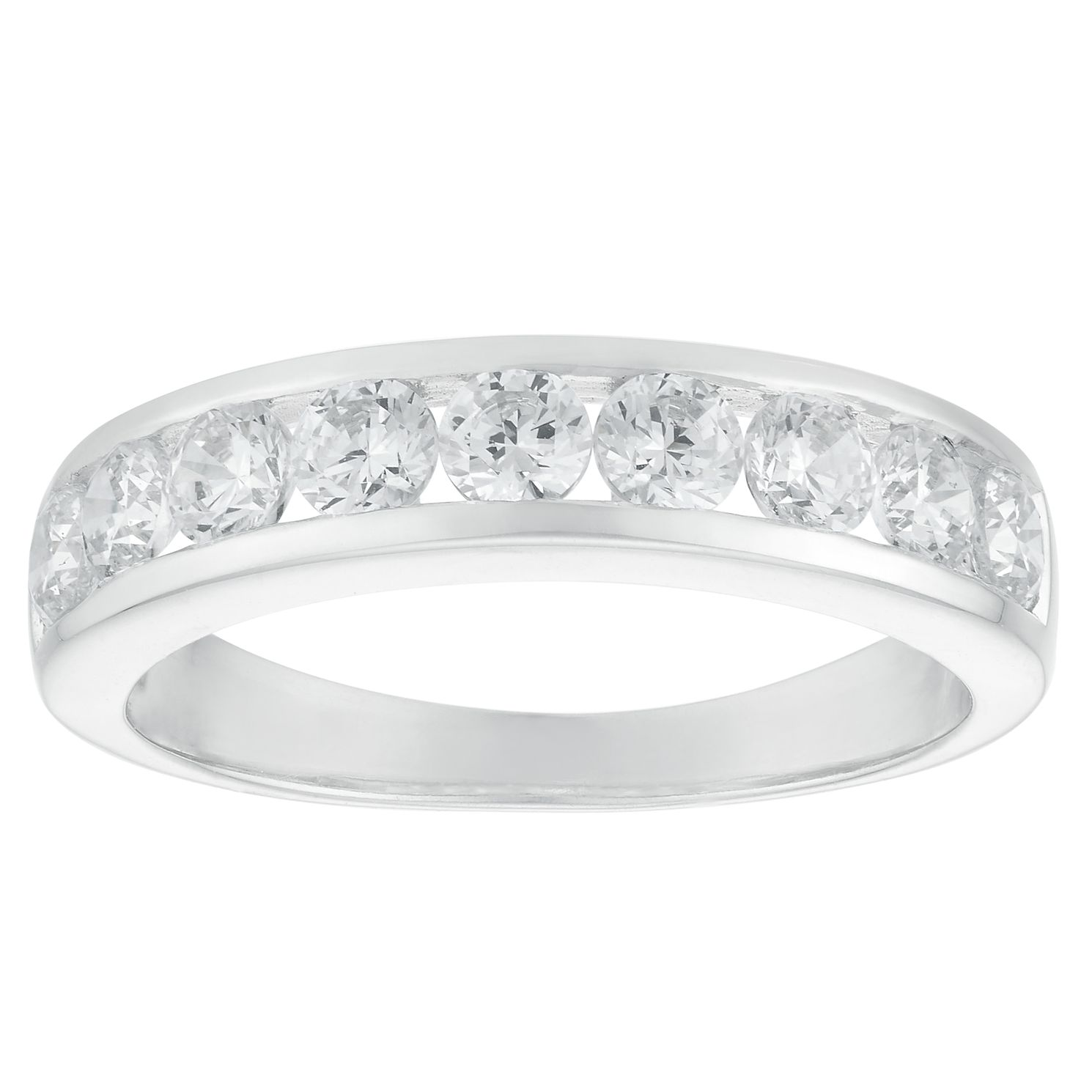 Cubic Zirconia Silver Channel Setting Eternity Ring - Product number 3910725