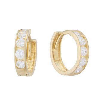 9ct Gold Children's 8mm Cubic Zirconia Huggie Hoop Earrings - Product number 3915840