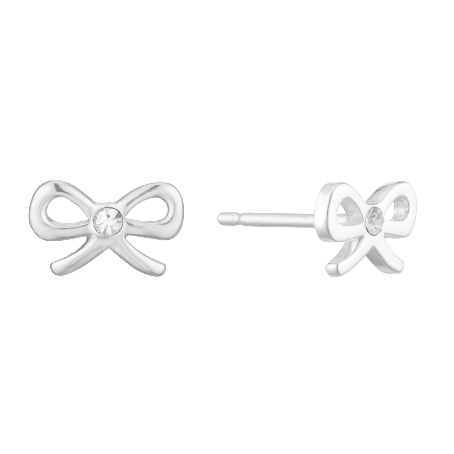 Sterling Silver Children's Crystal Bow Earrings - Product number 3915999