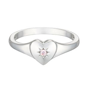 Sterling Silver Children's Cubic Zirconia Heart Ring Small - Product number 3916308