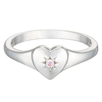 Sterling Silver Children's Cubic Zirconia Heart Ring Medium - Product number 3916316