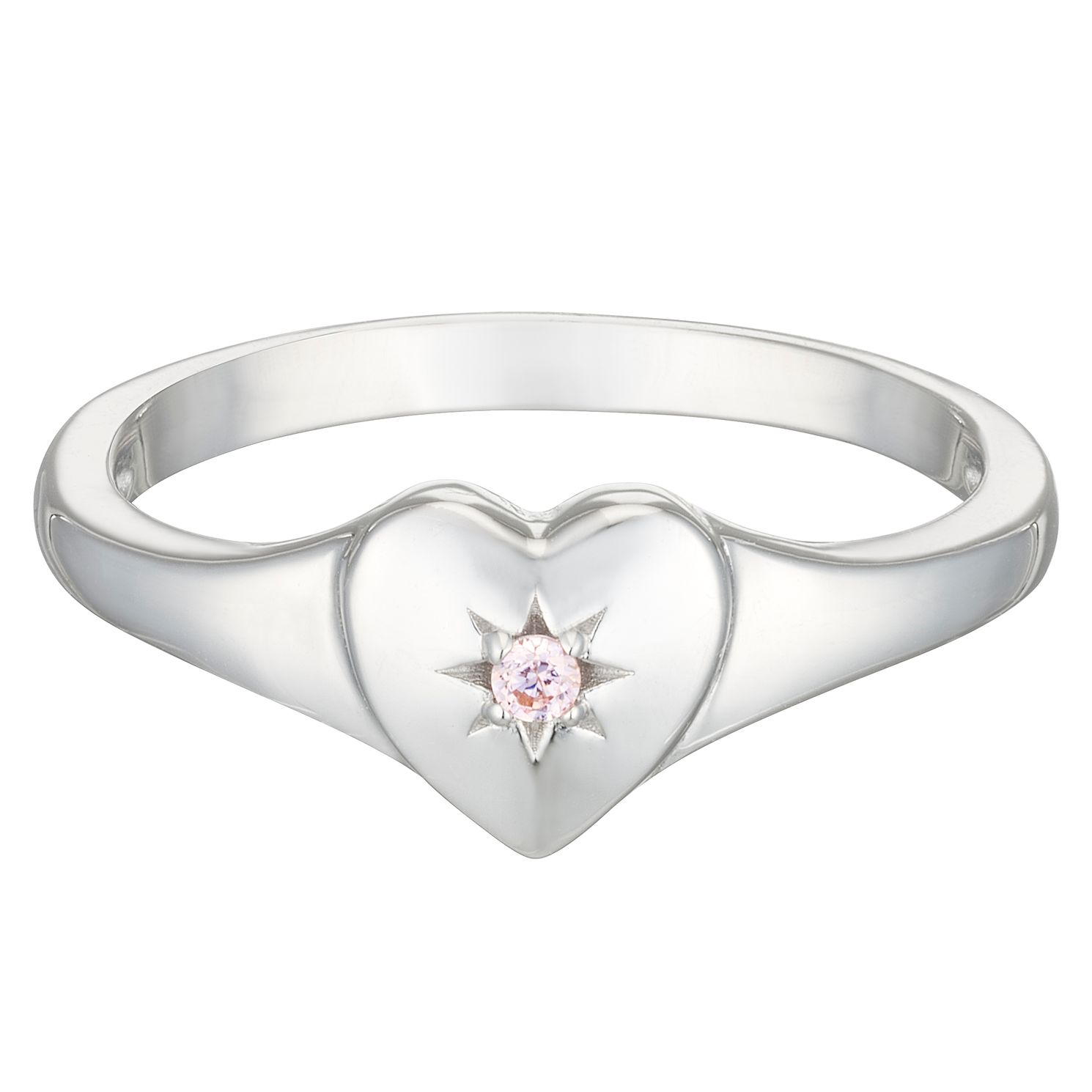 Sterling Silver Children's Cubic Zirconia Heart Ring Large - Product number 3916324