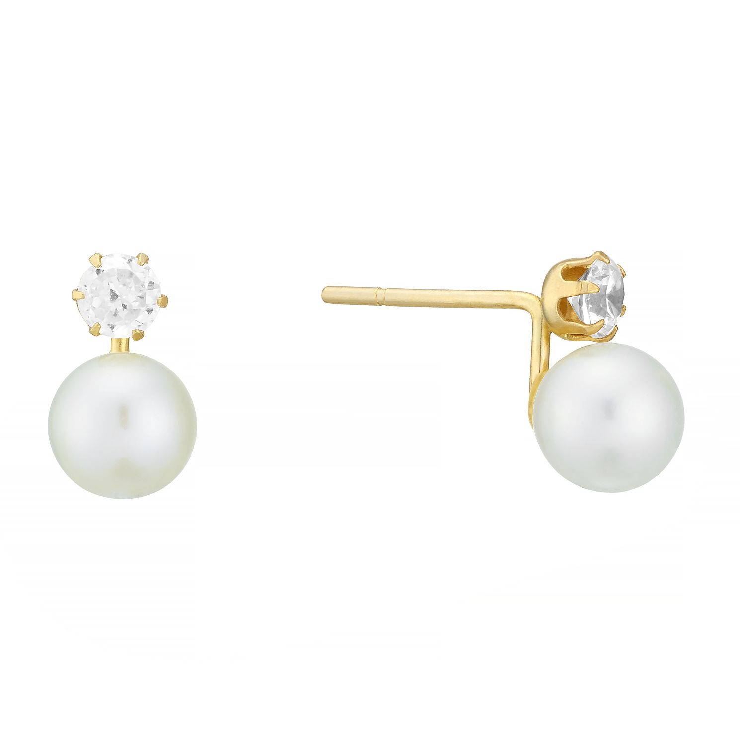9ct Gold Freshwater Pearl & Cubic Zirconia Stud Earrings - Product number 3916634