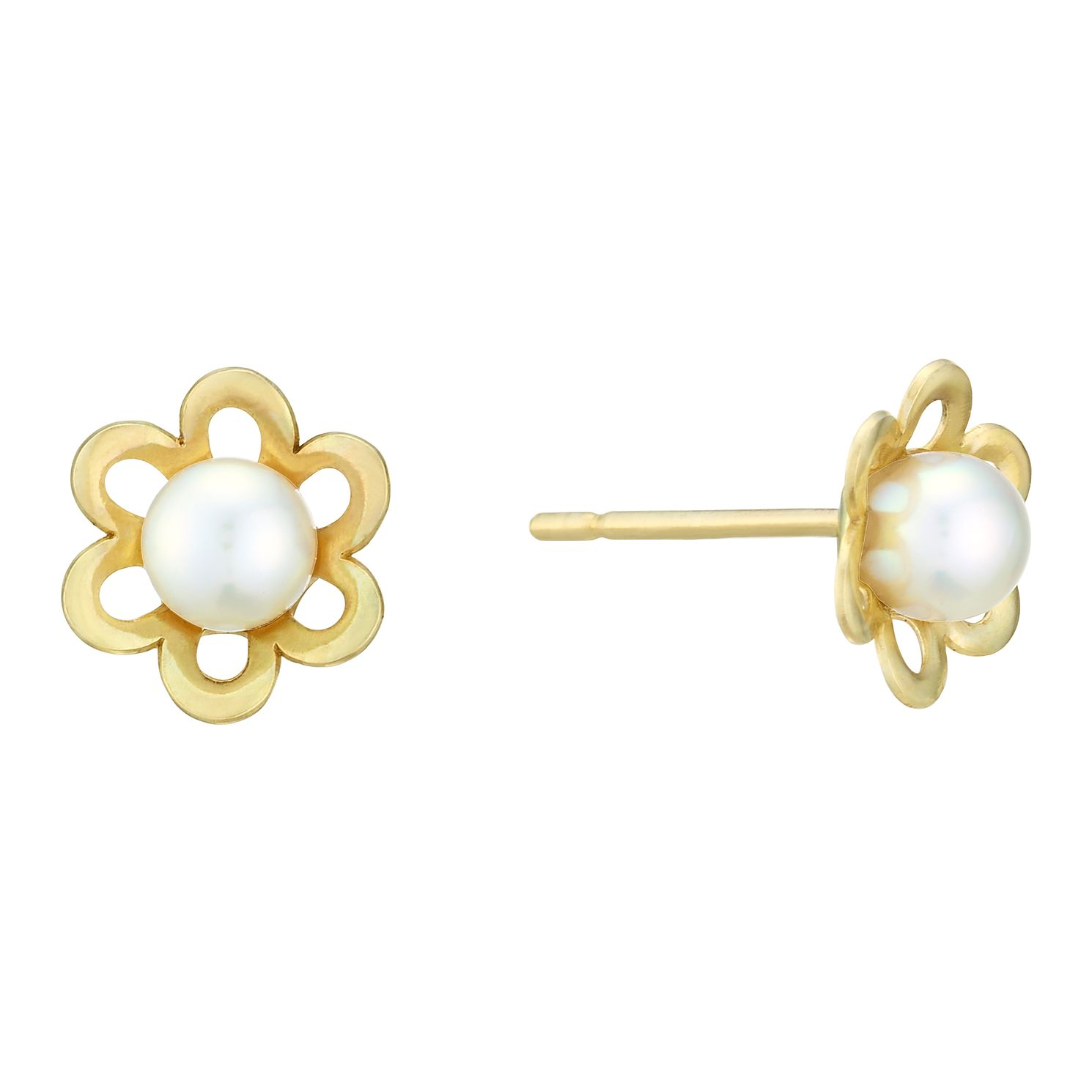 9ct Yellow Gold Freshwater Pearl Flower Stud Earrings - Product number 3916650