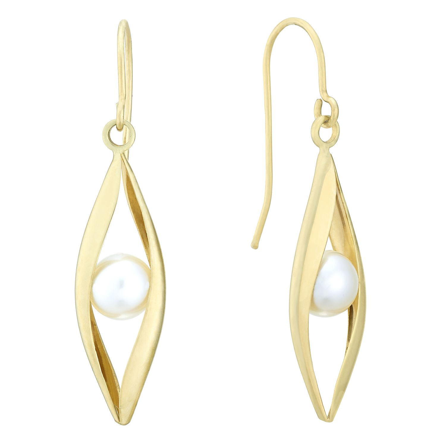 9ct Yellow Gold Freshwater Pearl Wavy Drop Earrings - Product number 3917193