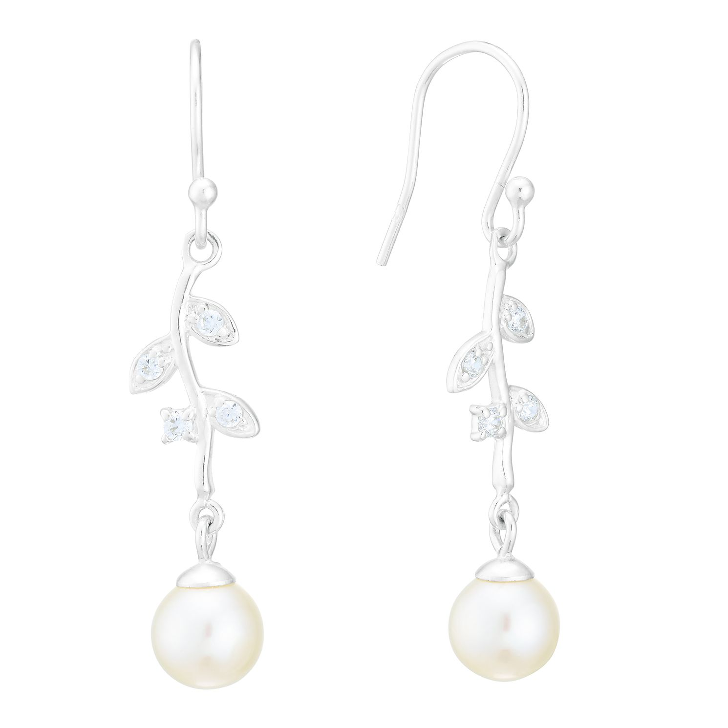 Silver Freshwater Pearl & Cubic Zirconia Drop Earrings - Product number 3917282