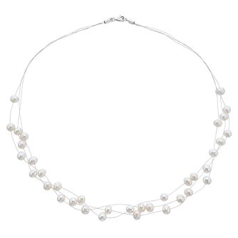 Sterling Silver Freshwater Pearl Three Strand Necklace - Product number 3917851