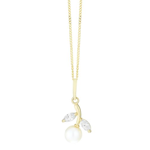 9ct Gold Freshwater Pearl & Cubic Zirconia Branch Pendant - Product number 3917975